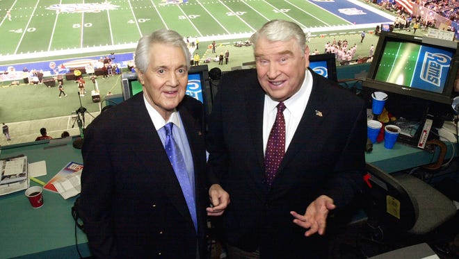 Pat Summerall, left, who passed away Tuesday, will forever be linked with NFL broadcasting partner John Madden calling Sunday afternoon games in the fall.