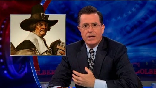 """Stephen Colbert reminds viewers that Boston was founded by Pilgrims who were """"so tough they had to buckle their (expletive) hats on."""""""