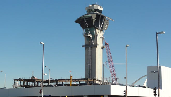 The air traffic control tower at Los Angeles International Airport as seen on Jan. 28, 2011.