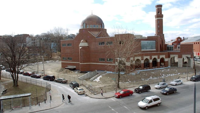 The Islamic Society of Boston Cultural Center, the largest mosque in New England, in the Roxbury area of Boston, was closed Friday (shown here when it was under construction in 2006) during the citywide manhunt for the Boston marathon bombers.