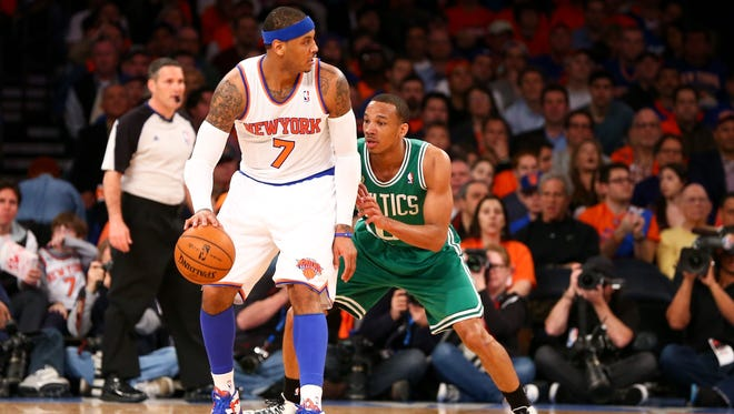Carmelo Anthony's 36 points led the New York Knicks to a series-opening 85-78 victory over the Boston Celtics.