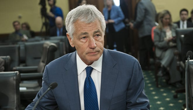 Secretary of Defense Chuck Hagel testifies at a budget hearing on Capitol Hill  on April 16.