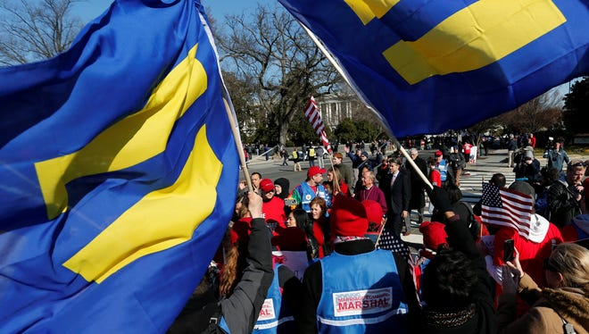 Gay marriage supporters at the Supreme Court last month.