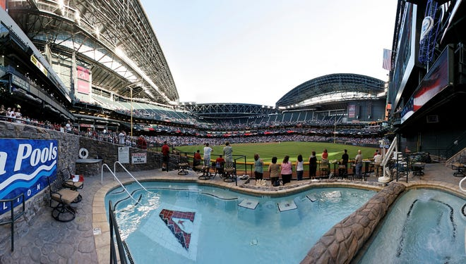 Chase Field features a swimming pool, which has been copied by other parks, as well as a retractable roof that keeps out the afternoon heat but lets in the cooler evening air.
