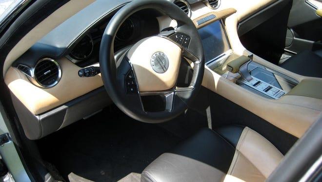 The interior of the Fisker Karma, a hybrid car