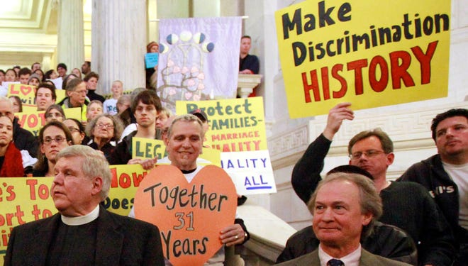 A rally in support of gay marriage at the Statehouse, in Providence, R.I., the only New England state that does not recognize same-sex marriage.