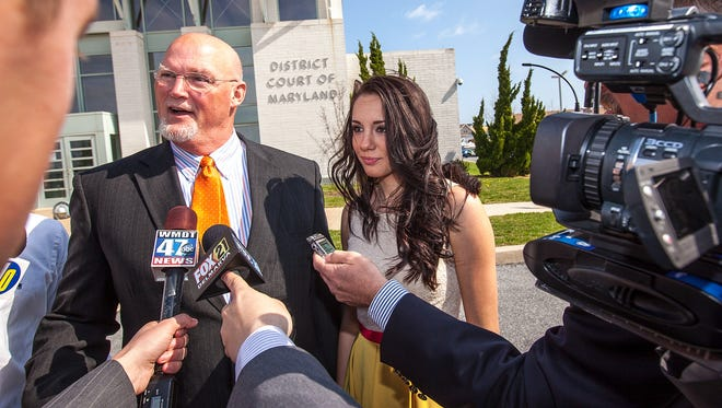 Attorney J. Gregory Hannigan speaks to the media for former Miss Delaware Teen USA Melissa King on Monday, April 22, 2013, outside the courthouse in Ocean City, Md., where she pleaded guilty on an alcohol-related charge and paid a fine.