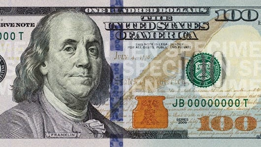 Security features on the new $100 bill include a 3-D security ribbon and color-shifting Liberty Bell in the copper inkwell.
