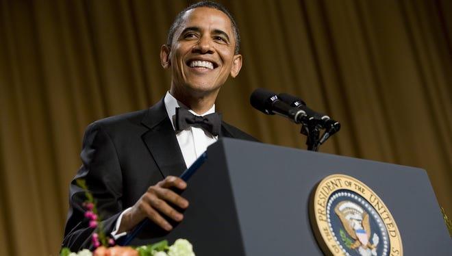 President Obama at last year's correspondents' dinner.