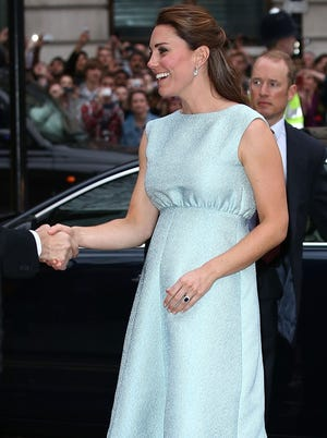 Catherine, Duchess of Cambridge arrives at a reception at the National Portrait Gallery in London.
