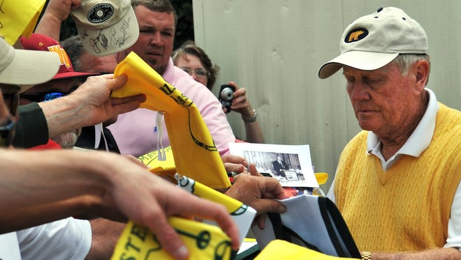 Jack Nicklaus signs autographs following his round in the Demaret Division at the Liberty Mutual Insurance Legends of Golf on Tuesday in Savannah, Ga.