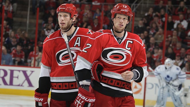Eric, right, and Jordan Staal will have a third brother, Jared, on the team.