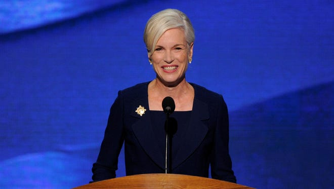 Cecile Richards, president of Planned Parenthood Federation of America, speaks to the convention.