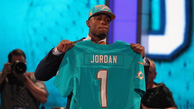 Defensive end Dion Jordan (Oregon) is introduced as the third overall pick of the 2013 NFL draft by the Miami Dolphins at Radio City Music Hall.