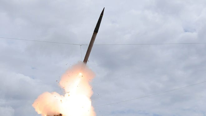 A Terminal High Altitude Area Defense (THAAD) missile is launched during a test in March 2009.