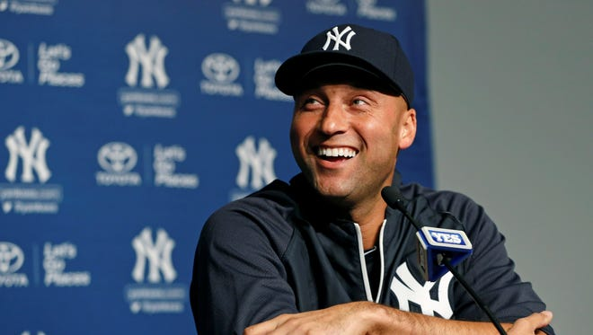 Derek Jeter laughs during a news conference about his left ankle injury Thursday.