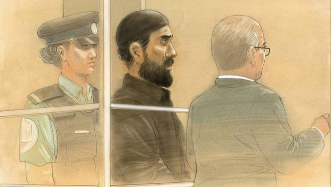 Raed Jaser, 35, appeared in court in Toronto on Tuesday on charges that he and 30-year-old Chehib Esseghaier plotted to bomb a passenger train in southern Ontario with support from al-Qaeda in Iran.