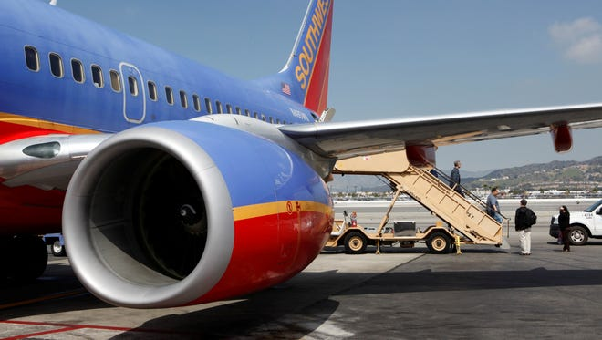 This March 13, 2010, photo shows a Southwest Airlines plane in Burbank, Calif.