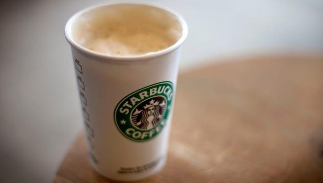A cappuccino sits in a Starbucks store in Atlanta.