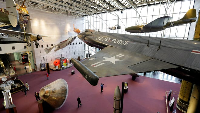 This Feb. 28, 2013 photo shows a U.S. Air Force North American X-15 aircraft hanging inside the Smithsonian Institution Air and Space Museum  in Washington.
