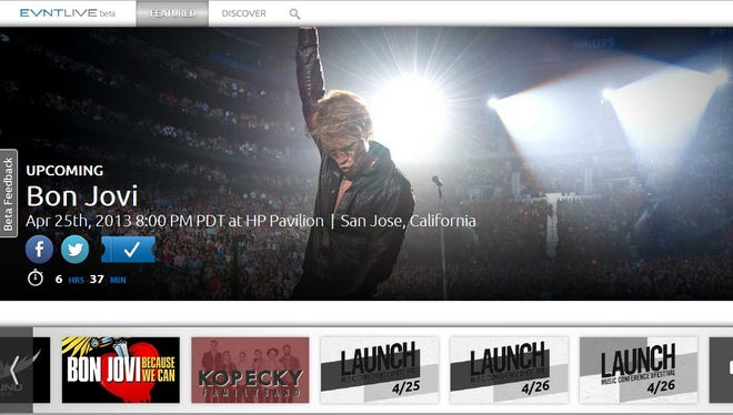 A screen shot from the Evntlive web site promoting the live stream of the April 25, 2013 Bon Jovi concert from San Jose.