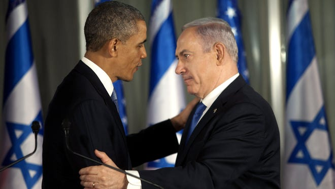 President Obama greets Israeli Prime Minister Benjamin Netanyahu during a press conference on March 20 in Jerusalem.
