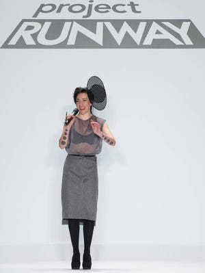 """THIS IMAGE IS EMBARGOED FROM ONLINE UNTIL AFTER 11PM 4/25.--RAS """"Project Runway"""" Season 11 Winner Michelle Lesniak Franklin in New York on Friday, February 8, 2013."""
