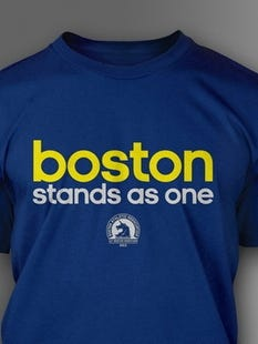 """Adidas, Official Sponsor of the Boston Athletic Association and the Boston Marathon, announced the launch of a limited edition """"Boston stands as one"""" T-shirt."""