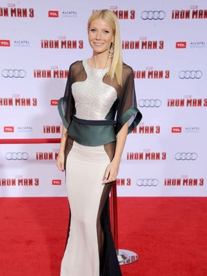 Gwyneth Paltrow arrives at the Los Angeles premiere of 'Iron Man 3' on Wednesday.