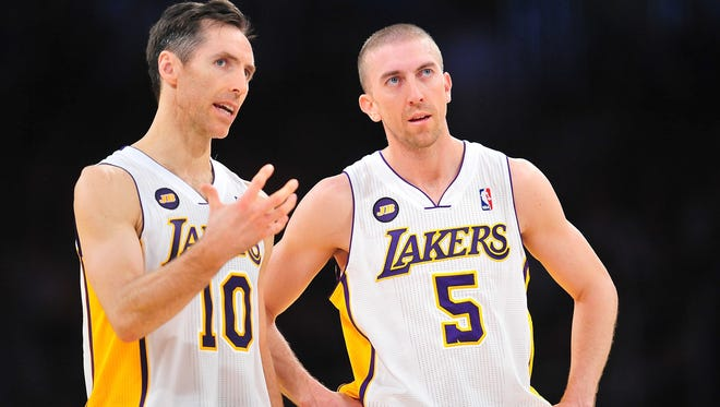 Los Angeles Lakers point guard Steve Nash (10) and Steve Blake (5) are injured and could miss Friday's game.