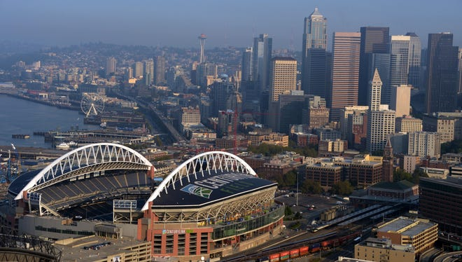 View of downtown Seattle skyline and the Space Needle before the NFL.