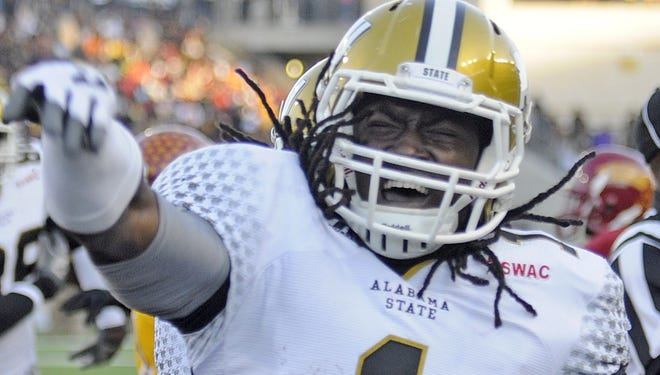 Alabama State running back Isaiah Crowell celebrates one of the 15 touchdowns he had in 2012.