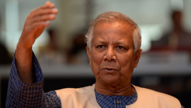 Muhammad Yunus, who received the Nobel Peace Prize in 2006, addresses the Editorial Board.