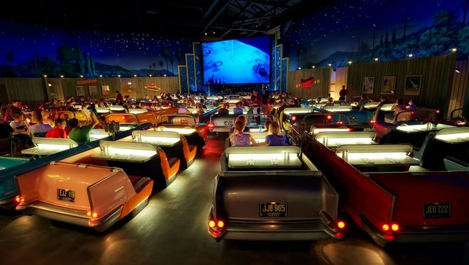 Best immersive theming -- Sci-Fi Dine-In Theater Restaurant, Walt Disney World At Disney's Hollywood Studios, guests are seated at 'tables' that look and feel like 1950s convertible cars (two guests get the front seat, and two guests get the back in most of these cars). After the car hop takes your order, watch the clips on the screen featuring old news reels, silly horror flicks, and classic cartoons.