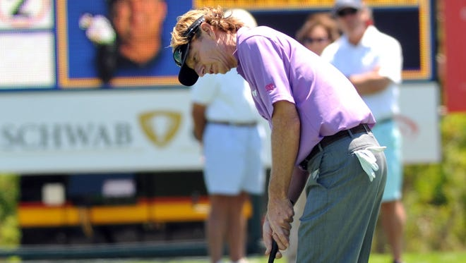 Brad Faxon attempts a birdie putt on the 16th hole during the first round of the Liberty Mutual Insurance Legends of Golf tournament, Friday, April 26, 2013, in Savannah, Ga.
