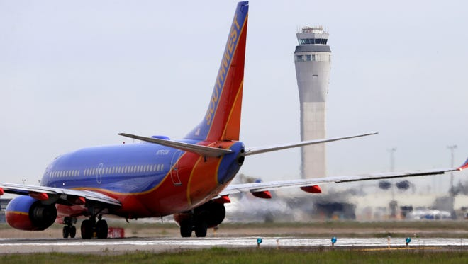 A Southwest Airlines jet waits to depart from Seattle-Tacoma International Airport on April 23, 2013.