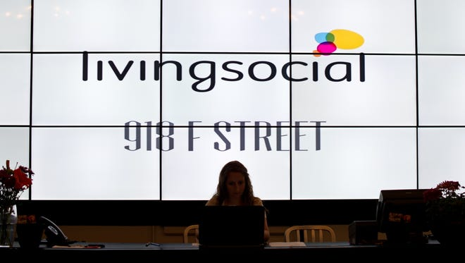 View of the reception desk at Living Social in Washington, D.C.