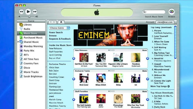 On April 28, 2003, Apple released its first version of the iTunes music store to legally buy digital music. This photo from Apple Computer shows the company's iTunes, a digital music player for a computer.