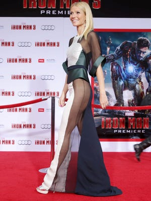 Gwyneth Paltrow goes sheer at the L.A. premiere of 'Iron Man 3' on Wednesday.