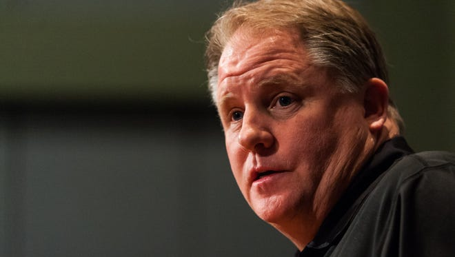Philadelphia Eagles head coach Chip Kelly addresses the media during a press conference at the NovaCare Complex.