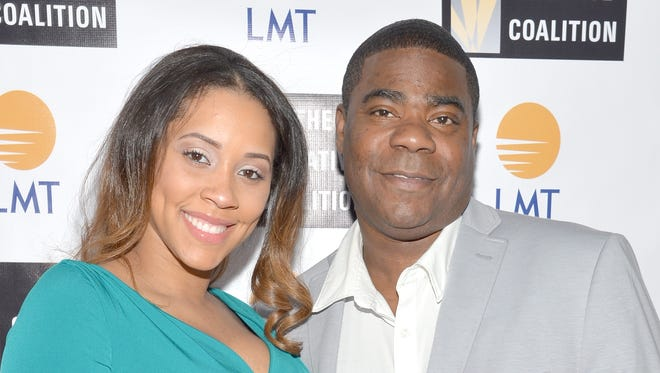 Megan Wollover  and comedian Tracy Morgan attend the Celebrating The Arts In America dinner presented By Lanmark Technology Inc. and The Creative Coalition.