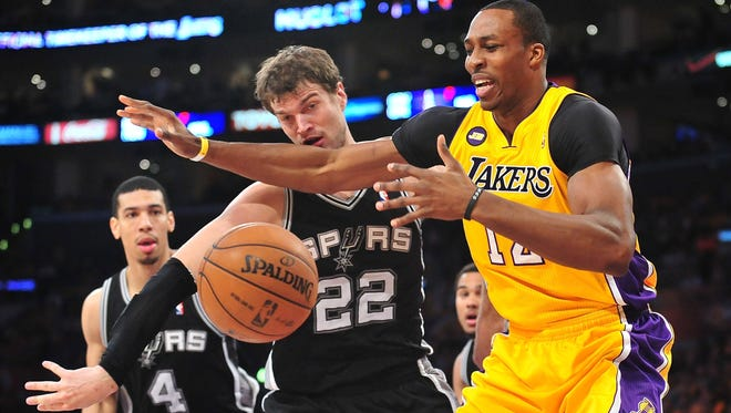 San Antonio Spurs center Tiago Splitter will miss Sunday's game against the Los Angeles Lakers.