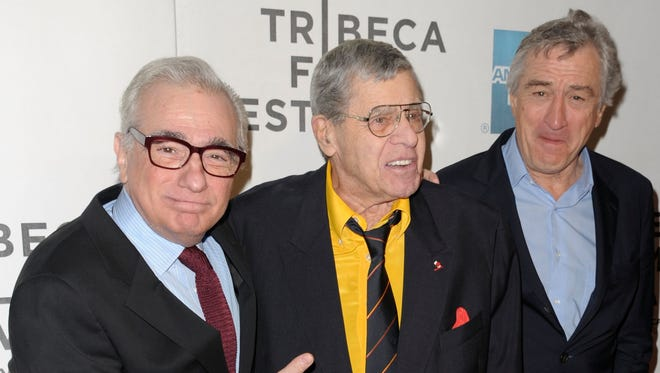 Director Martin Scorsese, comedian Jerry Lewis, and actor Robert De Niro attend 'The King of Comedy' screening gala at the 2013 Tribeca Film Festival on Saturday.