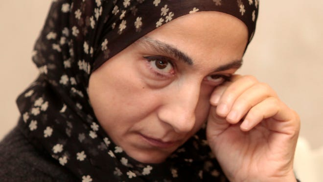Zubeidat Tsarnaeva attends a news conference in Makhachkala, the southern Russian province of Dagestan, on April 25.