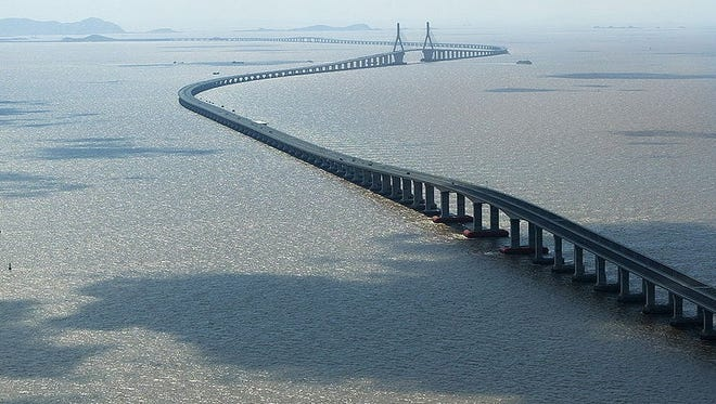 Donghai Bridge, China - 106,600 feet: The 20.2-mile Donghai Bridge is one of the longest cross-sea bridges in the world, stretching from Shanghai to Yangshan across the South China Sea. Unfortunately, tourists in China aren't permitted to drive, so you'll have to enjoy this cable-stayed bridge from the comfort of a taxi.