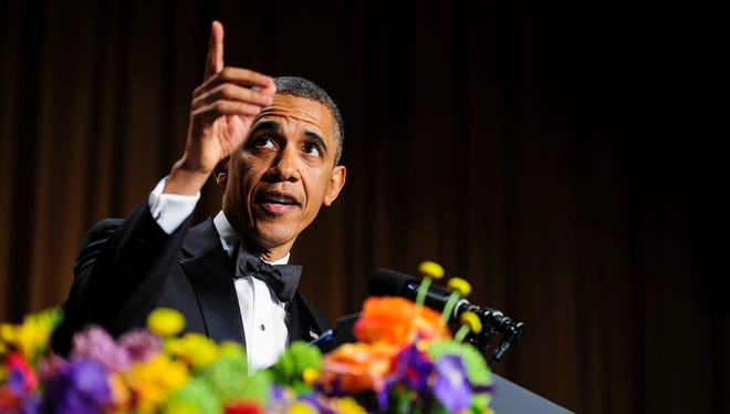 WASHINGTON, DC - APRIL 27:  U.S. President Barack Obama tells jokes poking fun at himself as well as others during the White House Correspondents' Association Dinner on April 27, 2013 in Washington, DC. The dinner is an annual event attended by journalists, politicians and celebrities. (Photo by Pete Marovich-Pool/Getty Images) ORG XMIT: 167799402 ORIG FILE ID: 167692595