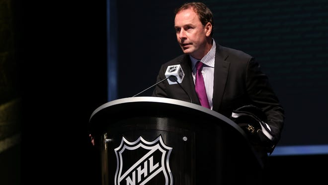 Dallas Stars general manager Joe Nieuwendyk speaks during the first round of the 2012 draft.