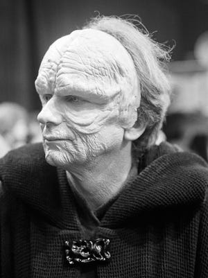 """A behind-the-scene picture from J.W. Rinzler's book """"The Making of Star Wars: Return of the Jedi"""" (out Oct. 1) finds actor Ian McDiarmid midway through his ritual of becoming the evil Emperor."""