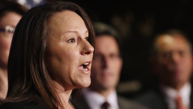 Rep. Martha Roby (R-AL) delivers remarks during a news conference with fellow House Republicans February 13, 2013
