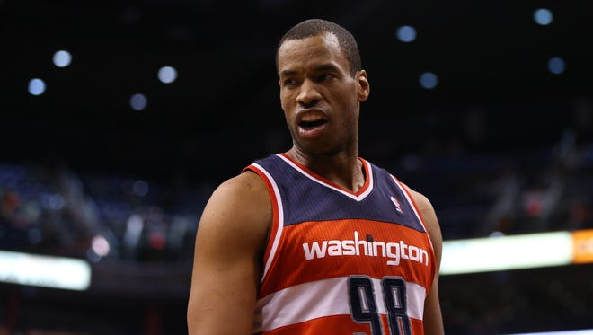 Jason Collins as a member of the Washington Wizards in March.